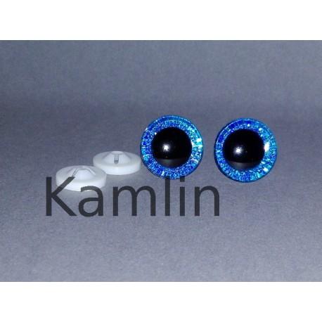 Bezpečnostní očička 16 mm modrá třpytivá
