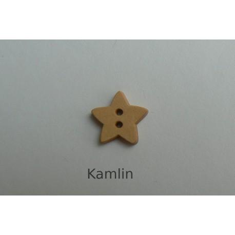 Knoflík - hvězdička - dřevěná 15 mm