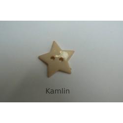 knoflík - hvězdička - béžová 19 mm