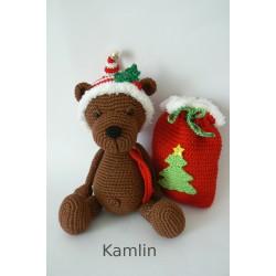 Háčkovaný medvídek - vánoční