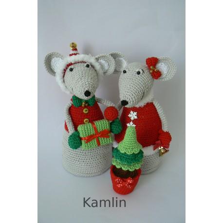 Háčkované myšky - vánoční dekorace