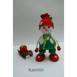 Háčkovaný sněhulák + sáňky - dekorace