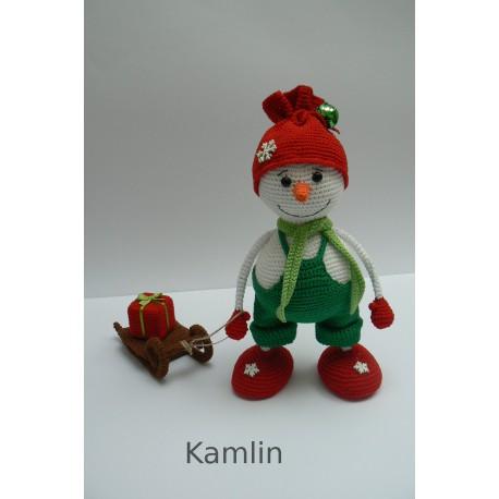 Návod na háčkovaného sněhuláka + sáňky - dekorace