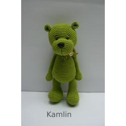 Háčkovaný medvídek - zelený