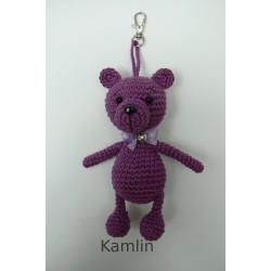 medvídek - přívěsek - tm. fialový